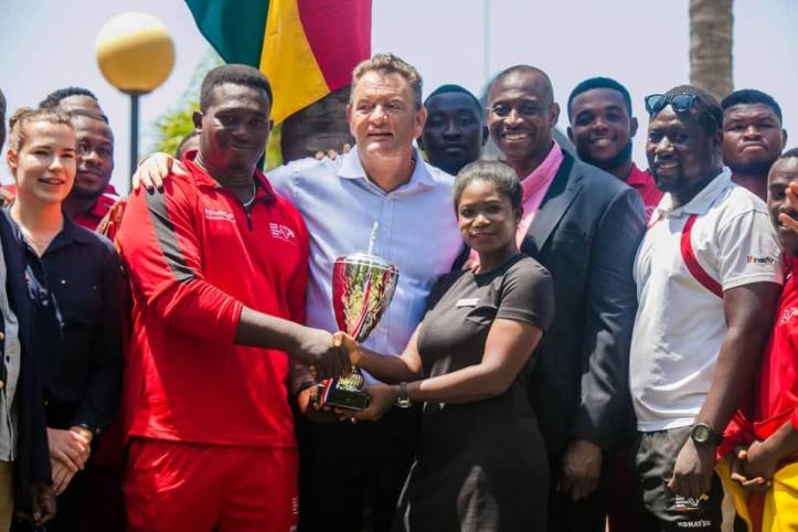Ghana National Rugby team lifts the cup with Paul Kavanagh