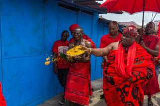 Ga People Accra men in red
