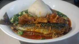 Ghanaian banku and fish