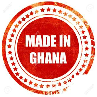 Made in ghana with some soft smooth lines, isolated red rubber stamp on a solid white background