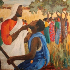 Ghanaian Jesus Christ feeding people